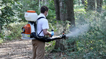 Man using mosquito control spray on wooded area