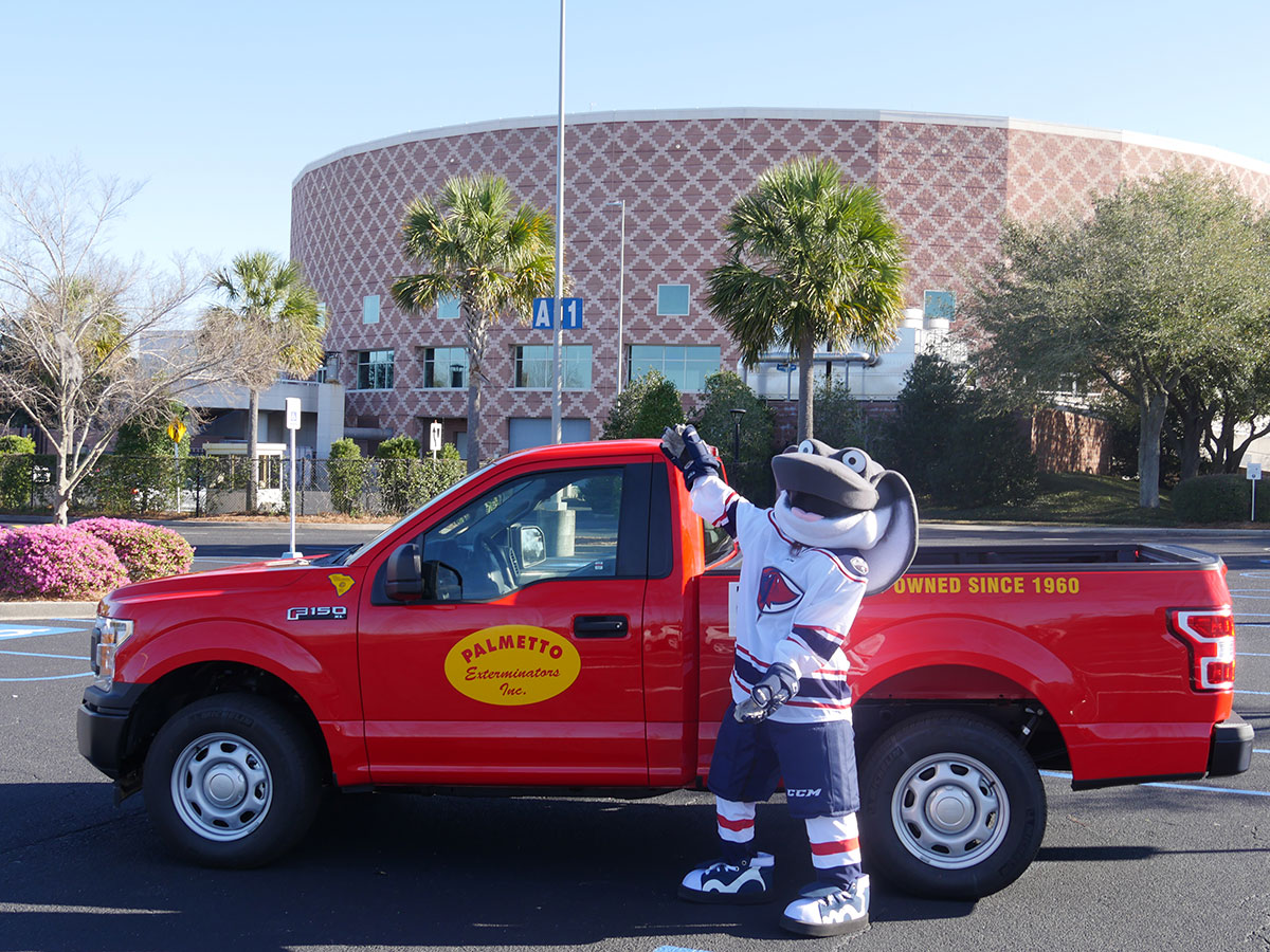 cool ray of the south carolina stingrays with the palmetto exterminators truck